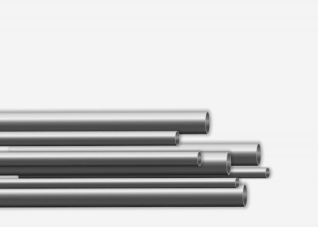 Glänzendes 3d-stahlrohrdesign. herstellungskonzept für industrielle metallpipelines. stahl- oder aluminiumrohre mit verschiedenen durchmessern isoliert auf weißem hintergrund. illustration ,.