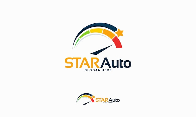 Glänzendes automotive-logo entwirft konzept, automotive star-logo-vorlagenvektor