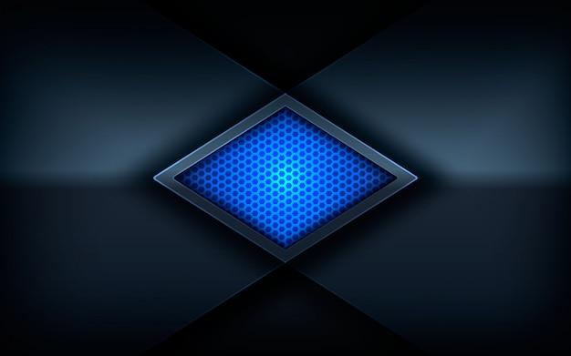 Glänzendes blaues farblicht auf dunklem abstraktem hintergrund