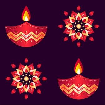 Glänzendes blumenmuster und beleuchtete öllampen (diya) auf lila hintergrund.
