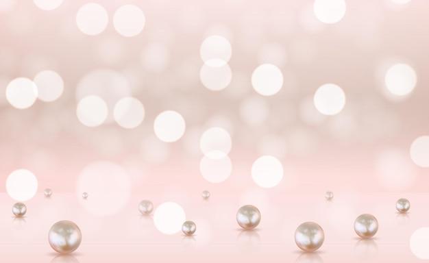 Glänzendes bokeh beleuchtet hintergrund mit realistischen perlen.