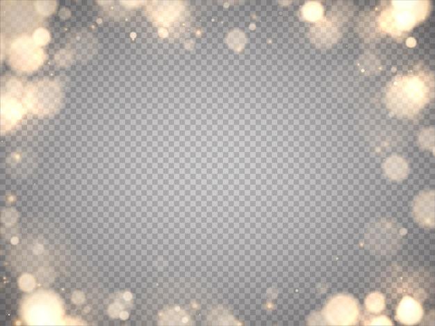 Glänzendes bokeh isoliert auf grauem hintergrund goldene bokeh-lichter mit leuchtenden partikeln