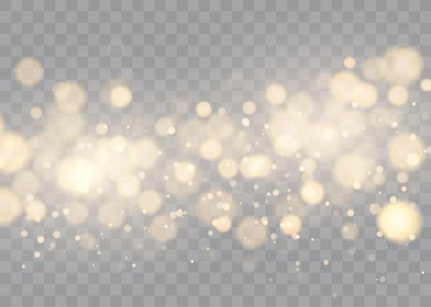 Glänzendes bokeh isoliert auf transparenten goldenen lichtern mit leuchtenden partikeln