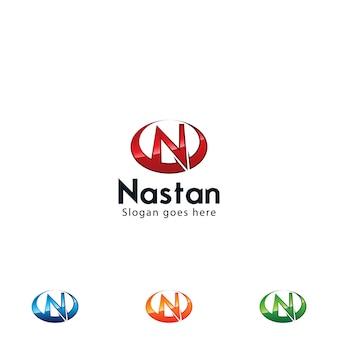 Glänzendes buchstabe n-logo