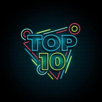 Glänzendes buntes neon-top-ten-zeichen