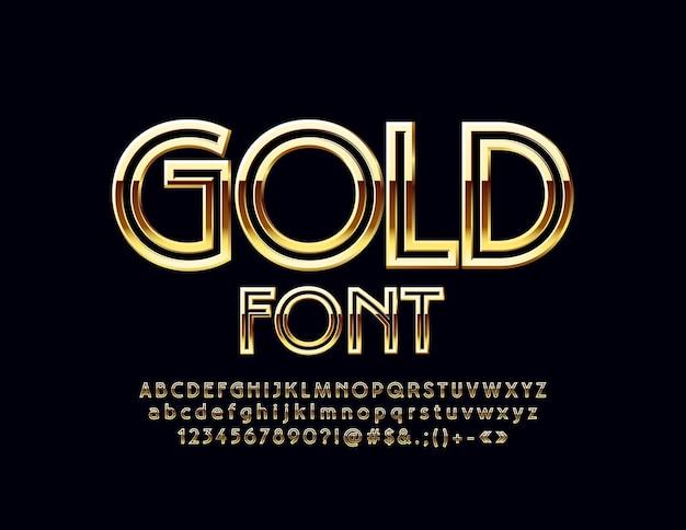 Glänzendes, elegantes goldalphabet luxus-set aus glamour-buchstaben, zahlen und symbolen