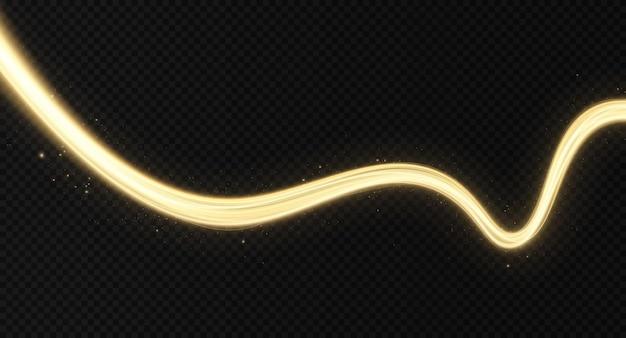 Glänzendes farbgoldwellen-designelement goldene welle mit goldglittereffekt auf schwarzem hintergrund