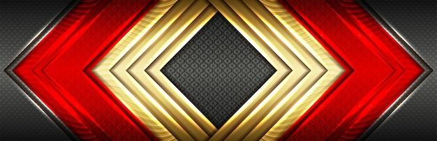 Glänzendes goldelement mit dunkelrotem effekt auf schwarzem design