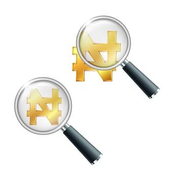 Glänzendes goldenes nigerianisches naira-währungszeichen mit lupe. finanzielle stabilität suchen oder überprüfen. isoliert auf weißem hintergrund