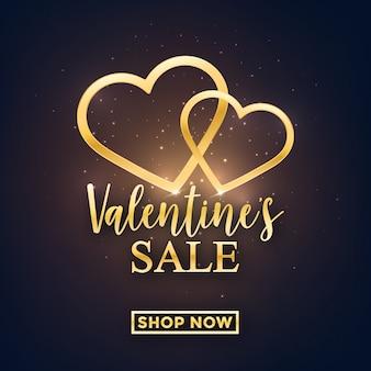Glänzendes goldenes valentinstagverkaufsdesign
