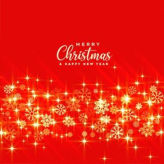 Glänzendes goldenes weihnachten funkelt auf rotem hintergrund