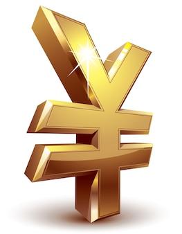 Glänzendes goldenes yen-symbol. organisiert nach schichten. globale farben. verwendete farbverläufe.