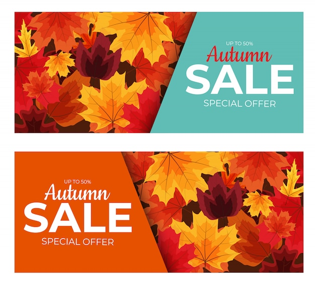Glänzendes herbstlaub-verkaufsbanner. business discount card. illustration
