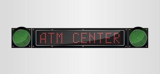 Glänzendes led-licht banner atm center zeichen