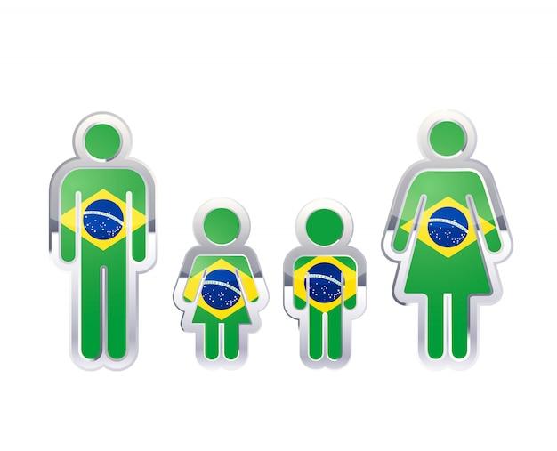 Glänzendes metallabzeichenikone in den mann-, frauen- und kinderformen mit brasilien-flagge, infografikelement auf weiß
