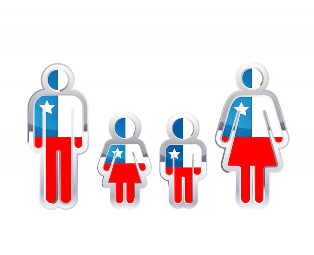 Glänzendes metallabzeichenikone in mann-, frauen- und kinderformen mit chile-flagge, infografikelement auf weiß
