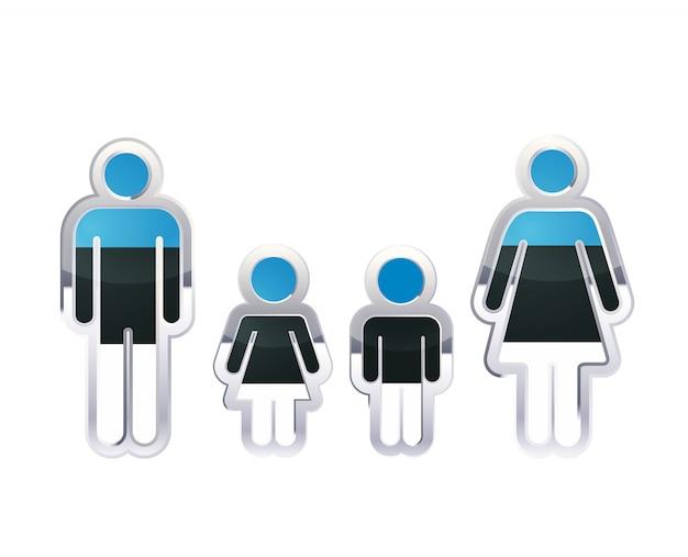 Glänzendes metallabzeichenikone in mann-, frauen- und kinderformen mit estland-flagge, infografikelement auf weiß