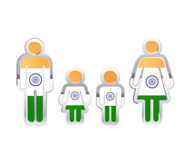 Glänzendes metallabzeichenikone in mann-, frauen- und kinderformen mit indien-flagge, infographisches element lokalisiert auf weiß