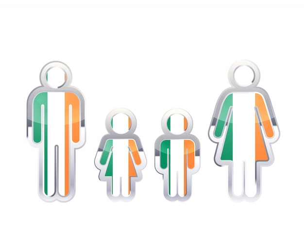 Glänzendes metallabzeichenikone in mann-, frauen- und kinderformen mit irland-flagge, infographisches element lokalisiert auf weiß