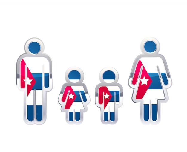 Glänzendes metallabzeichenikone in mann-, frauen- und kinderformen mit kuba-flagge, infografikelement auf weiß