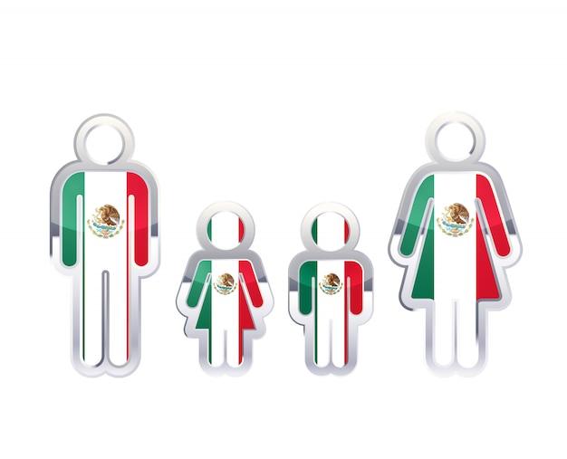 Glänzendes metallabzeichenikone in mann-, frauen- und kinderformen mit mexiko-flagge, infografikelement auf weiß