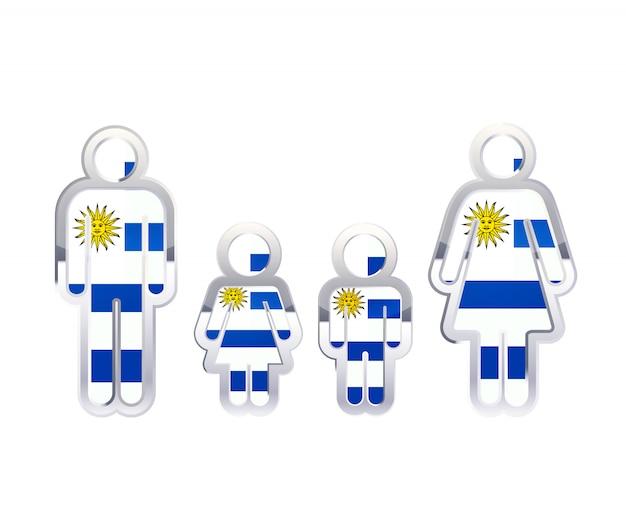 Glänzendes metallabzeichenikone in mann-, frauen- und kinderformen mit uruguay-flagge, infografikelement auf weiß