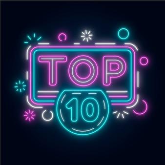 Glänzendes neon-top-ten-zeichen