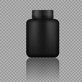 Glänzendes plastikverpackungsmodell 3d-design. molkenprotein und masse gewinnen schwarzes plastikglas, flasche