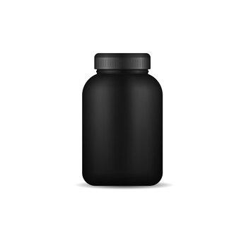 Glänzendes plastikverpackungsmodell d design whey protein und masse gewinnen schwarze plastikglasflasche