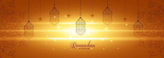 Glänzendes ramadan kareem leuchtendes banner