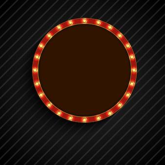 Glänzendes retro- licht der konzeptkreisfahne