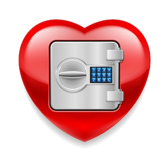 Glänzendes rot als safe mit elektronischem schloss liebe oder leben im safe