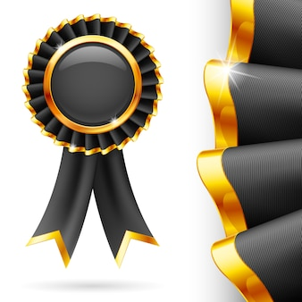 Glänzendes schwarzes award-band mit goldener kante. stoff mit sehr detaillierter textur