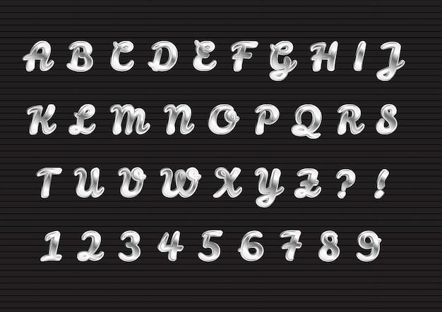 Glänzendes silber 3d-alphabet-zahlen-set