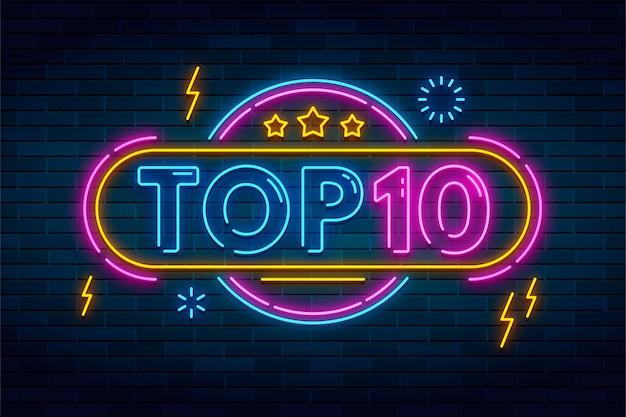 Glänzendes top-ten-zeichen