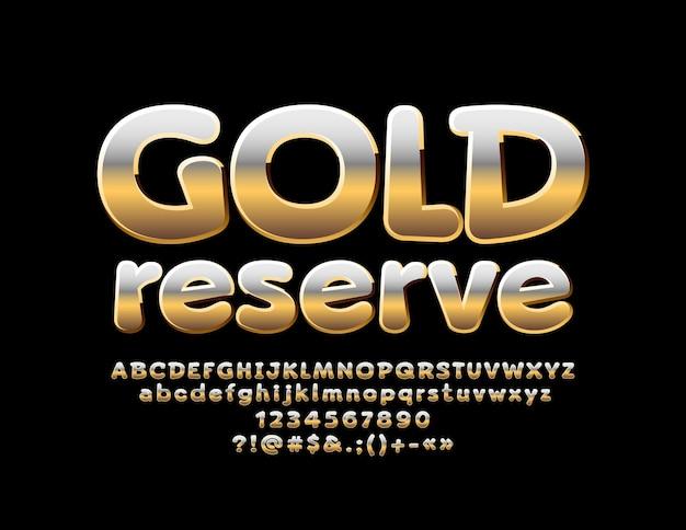 Glänzendes zeichen gold reserve metallic gradient font chic bold