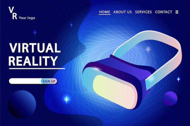 Gläser der virtuellen realität auf einem technologiezusammenfassungshintergrund. zielseitenvorlage. vektorillustration in der modernen flachen art.