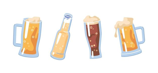 Gläser gefüllt mit hellem oder dunklem bier trinken isoliertes erfrischungsgetränk mit schaumigem, sprudelndem blasse