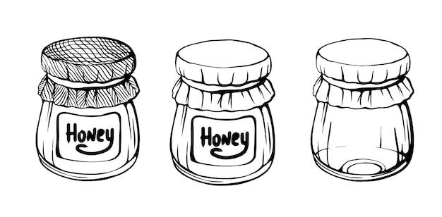 Gläser honigbienenhonig handgezeichneter vektor