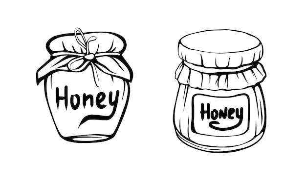 Gläser mit honigbienenhonig