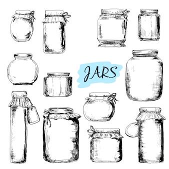 Gläser. reihe von zeichnungen