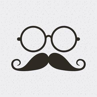 Gläser und schnurrbart hipster stil isoliert symbol