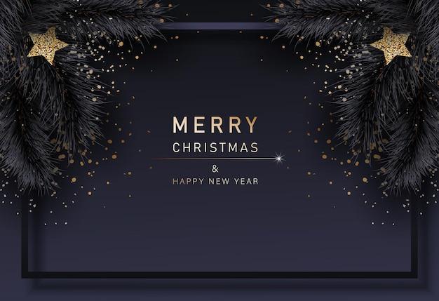 Glam christmas cadr mit tannenschwarzzweigen frohe weihnachten und ein glückliches neues jahr banner 2022