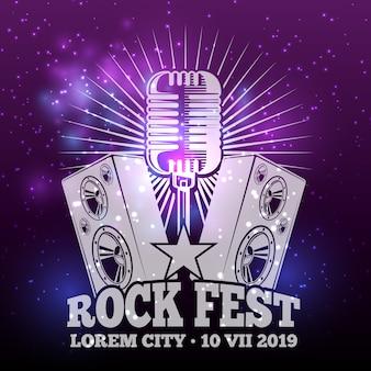 Glam musikfest glänzend und plakatgestaltung. vektorillustration
