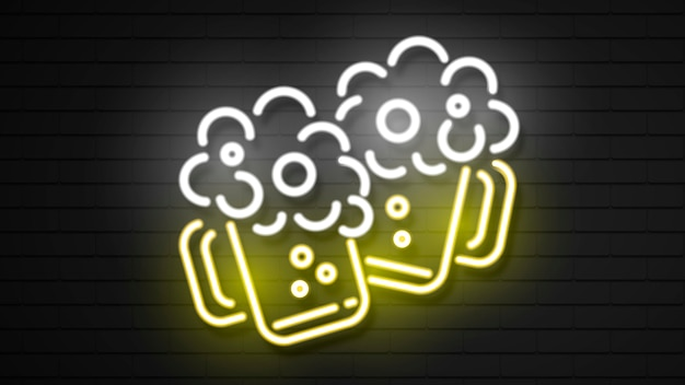 Glas bier in der neoneffektart.