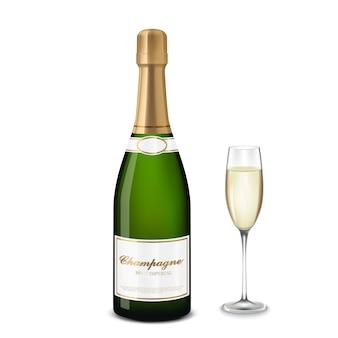 Glas champagner und eine flasche