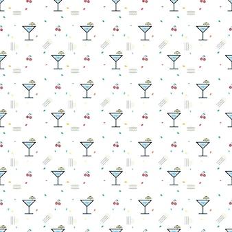 Glas cocktail und kirsche nahtlose muster