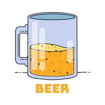 Glas der biervektorillustration, minimales design.