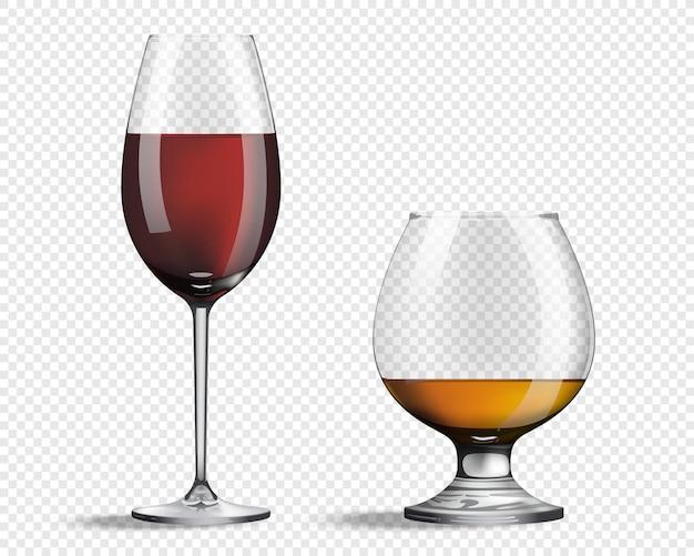 Glas für wein und whisky realistische gläser