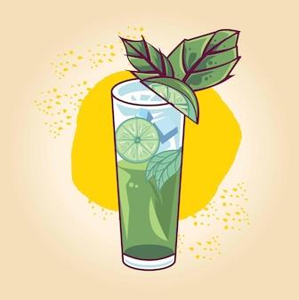 Glas gin wodka sodawasser mit eis und limette